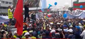 جزء من المشهد الاحتفالي الاستعراضي الهائل للطبقة العاملة المغربية بقيادة الاتحاد المغربي للشغل